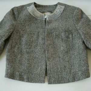 Loft Blazer Gray Sequin Cropped Open Front Size 4